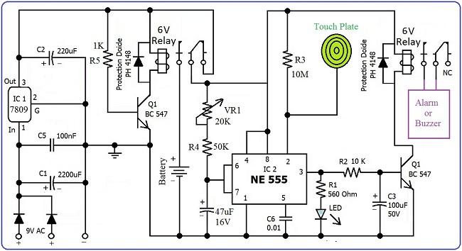 slika1 alarm_aktiviran_dodirom_tajmer_ne555_elektronika_automatika.rs