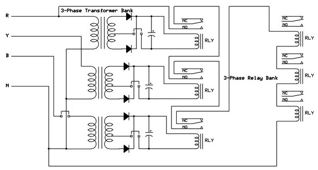 shema Kako napraviti uredjaj za zastitu elektricnih masina usled prekida faze energetika elektronika automatika.rs